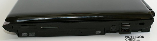 Right Side: ExpressCard34, CardReader, Optical drive, 2x USB, Kensington Lock