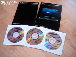 Two user's manuals, driver & support DVD, as well as Windows 7 Home Premium 32 & 64 bit recovery
