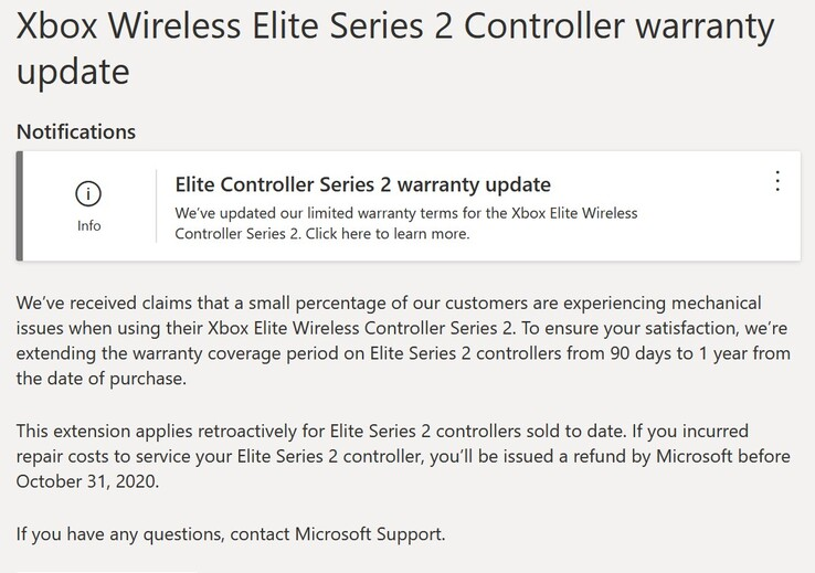 Microsoft's Elite Controller Series 2 warranty update. (Image: Microsoft)