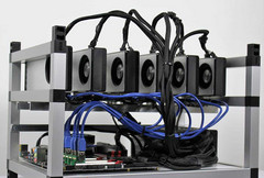 This is an Ethereum mining rig that uses 6 Nvidia GPUs to increase mining profitability. (Source: mybroadband.co.za)