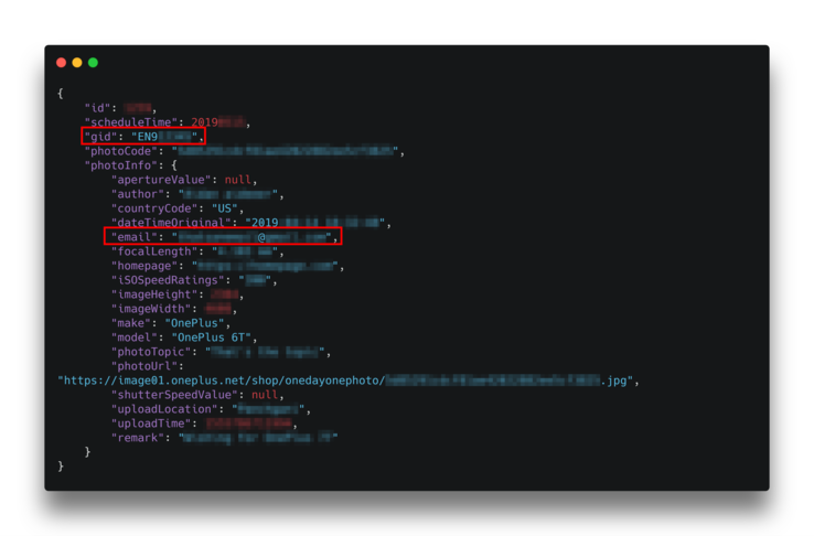 The data in a Shot on OnePlus API response includes email addresses and IDs. (Source: 9to5Google)