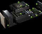 The NVMe SSDs are situated in front (9), while the two GPU boards sit in the middle and the CPUs/system memory plus GbE connections are located in the back. (Source: Nvidia)