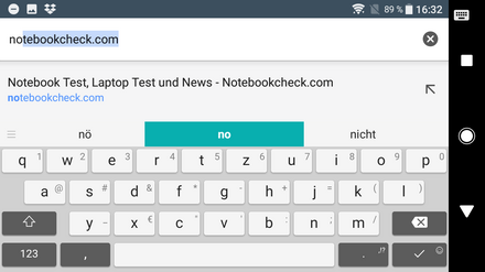 On-screen keyboard in landscape mode