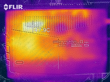 Thermal imaging of the bottom case during The Witcher 3 benchmark