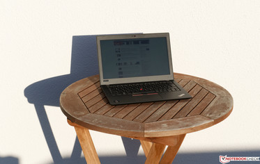 Lenovo ThinkPad A285 outdoors in sunlight