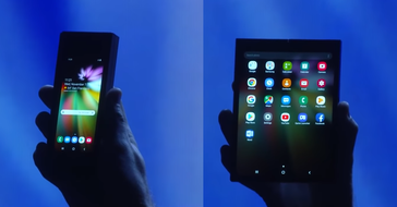 The foldable smartphone shown at the Developer Conference. (Source: SDC 2018 livestream)