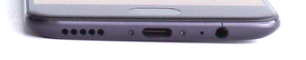 bottom: speaker, USB-C port, microphone, 3.5mm audio jack