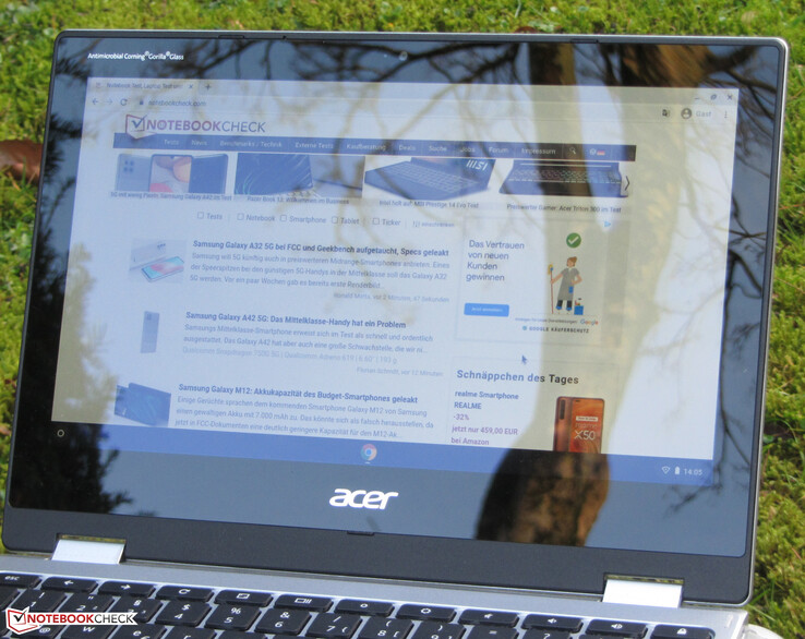The Chromebook outdoors.