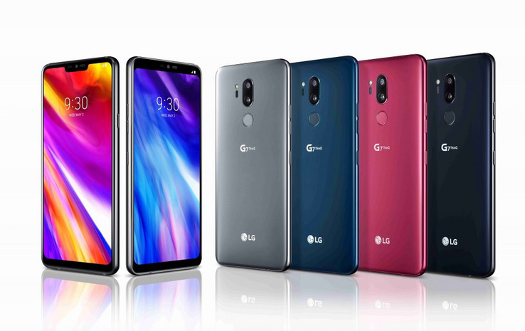 The LG G7 ThinQ comes in Platinum Grey, Aurora Black, Moroccan Blue and Raspberry Rose. (Source: LG)