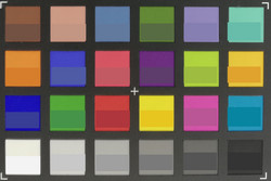 ColorChecker: reference color at the bottom of each square.