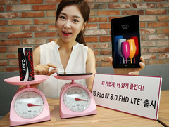 The G Pad IV 8.0 FHD LTE tablet weighs as much as a Coke can. (Source: LG)