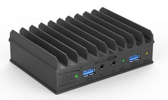 The fanless enclosure has a 0.98-inch profile, and the radiator fins add 0.3 inches on top. (Source: Compulab)