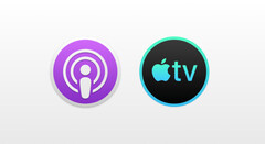 The alleged new app icons for discrete Apple Podcast and TV apps. (Source: 9to5Mac)