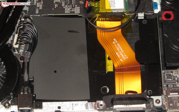 MSI includes a 2.5-inch drive bay for adding a second drive. Black film covers the SATA drive bay.