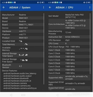 AIDA64 result of Realme 3 RMX1821 with Helio P60. (Source: Android Authority)