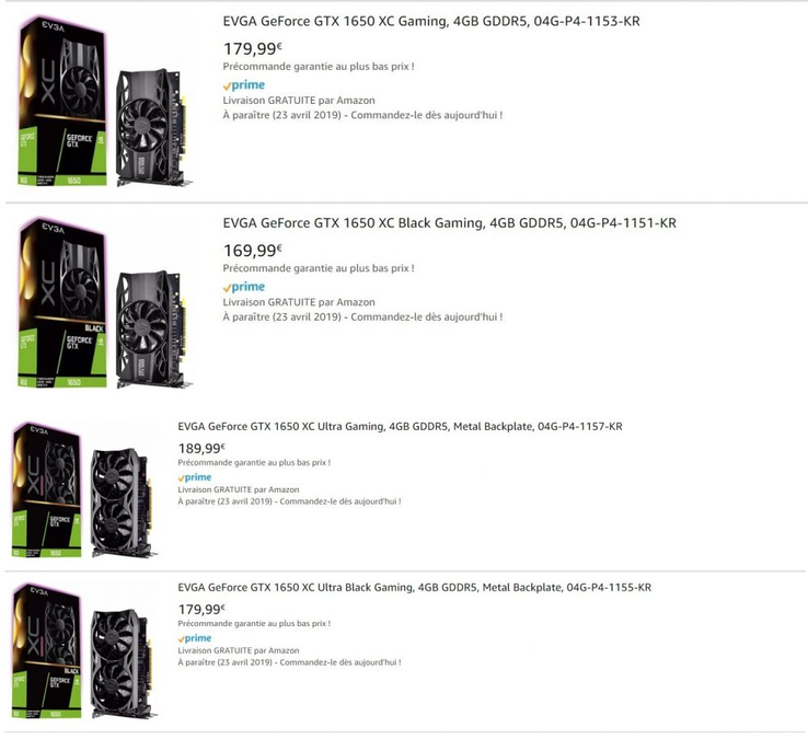 EVGA GeForce GTX 1650 listings on Amazon France. (Source: VonGuru)