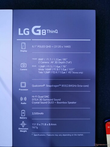 LG G8 ThinQ main specifications.