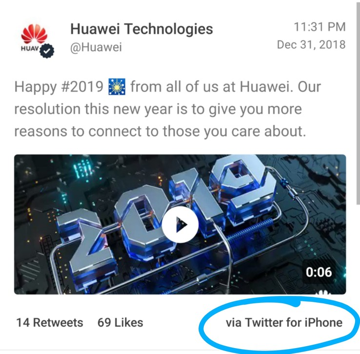 A screenshot of Huawei's original message, in which the client tag was highlighted by MKBHD. (Source: Twitter)