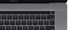 A leaked render of the new 16-inch MacBook Pro shows redesigned Touch Bar with separated Touch ID button.