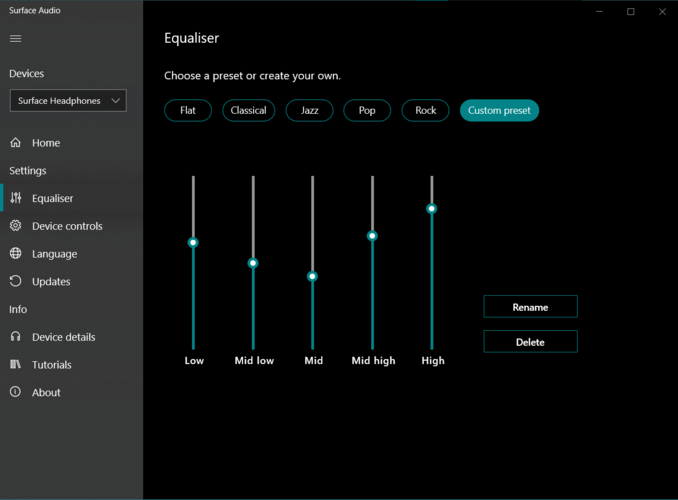 The Surface Audio app has five audio presets. (Image source: Notebookcheck)