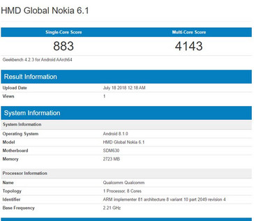 Typical Snapdragon 630 Geekbench scores.