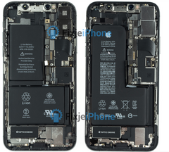 The iPhone XS (right) has a single battery. Notice the slightly smaller width along the top right edge. (Image source: FixjeiPhone)