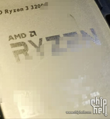 Close-up of supposed AMD Ryzen 3 3200G. (Source: Chiphell)