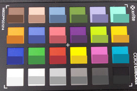 ColorChecker colors photographed; the original colors are displayed in the lower half of each patch