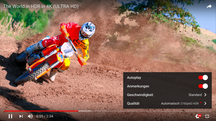 HDR videos are shown, in this case on YouTube