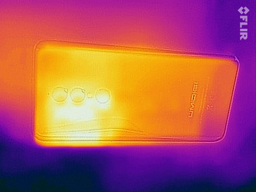 Heat-map of the rear of the device under maximum load