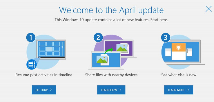 Windows 10 April 2018 Update welcome message