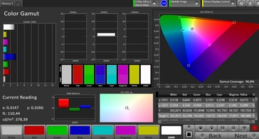 CalMAN Color Space sRGB – Normal setting