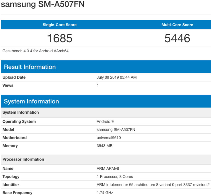 A Geekbench screenshot for the SM-A507FN. (Source: Twitter)