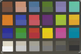 Photograph of ColorChecker colors. The target color is in the lower half of each patch.