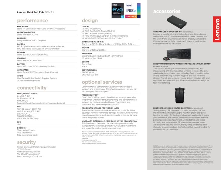 specifications Lenovo ThinkPad T14s G2 Intel