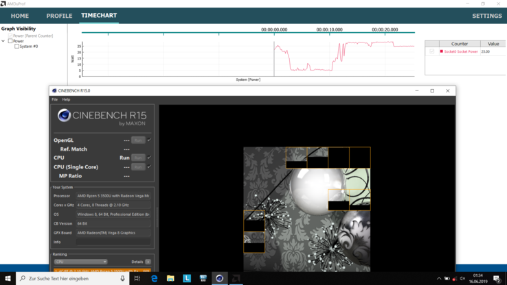Power consumption CPU in Cinebench R15 Multi