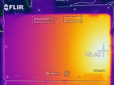 A thermal image of the bottom case under sustained load