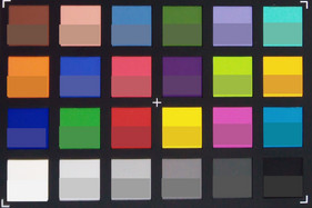ColorChecker colors. The lower half shows the original color.