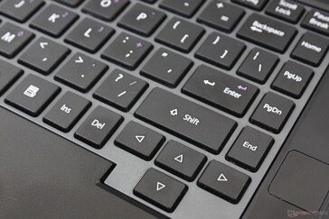A few keys can feel cramped and could have been larger like the Delete key, arrow keys, and last column of keys