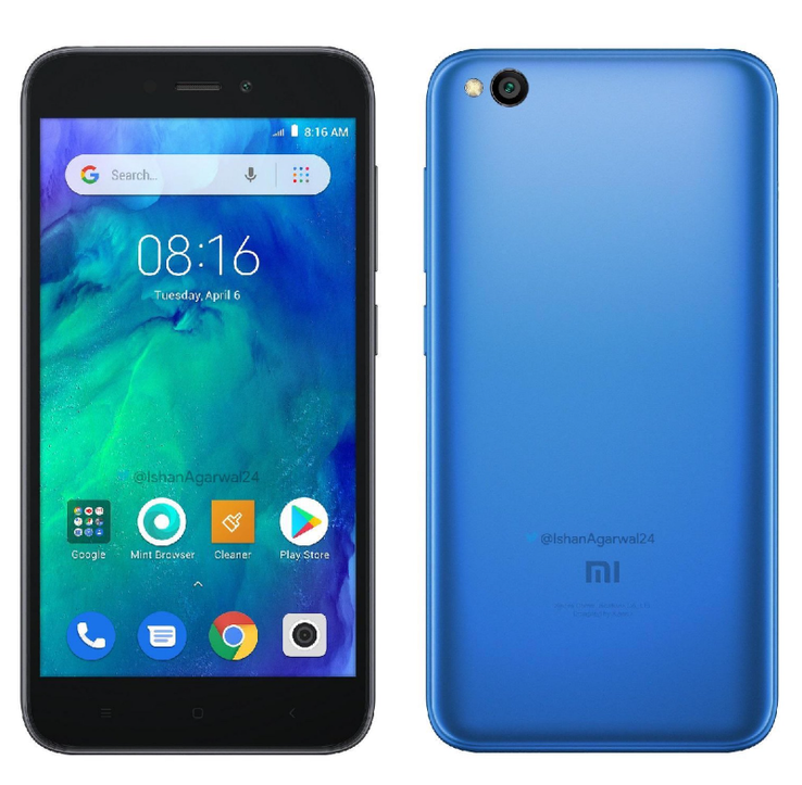 The Redmi Go also comes in blue. (Source: Twitter/Ishan Agarwal)