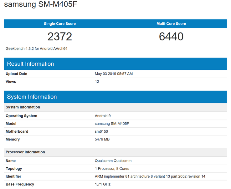 GeekBench results and specs (Source: GeekBench)
