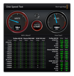Blackmagic Disk Speed Test Air 2017