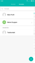 Telephone app: contacts