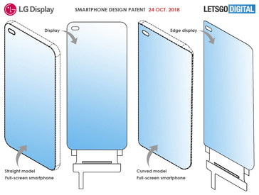 LG's smartphone screen design patent for a left side in-display camera. (Source: LetsGoDigital)