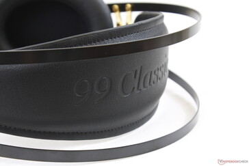 '99 Classic' imprinted in the headband. Because the headphones are so light, they hold in place very well without being too tight