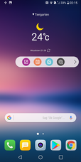 LG V30: home screen with floating bar