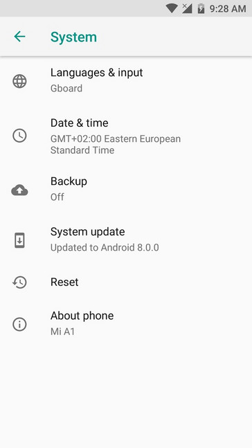 Xiaomi Mi A1 Android Oreo update installation complete