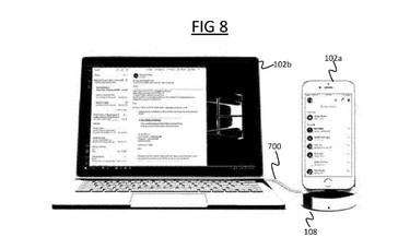 The device can dock an iPhone to answer incoming calls. (Source: USPTO)