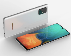 The back of the A71 appears very similar to that of an iphone 11, while the display is inspired by the Note 10 design. (Source: OnLeaks)