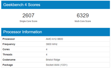 AMD A12-9800 'Bristol Ridge' Geekbench scores. (Source: Geekbench)